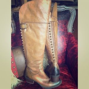Vince Camuto Brown stud detail leather boots